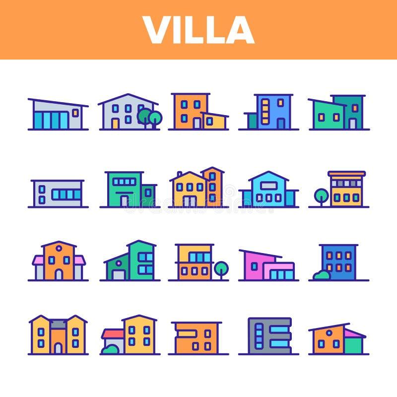 Lyxig villa, för vektorsymboler för stuga linjär uppsättning stock illustrationer