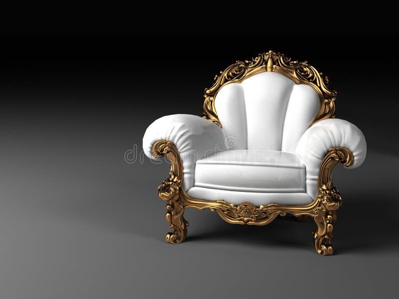 Lyxig vit fåtölj med den guld- ramen royaltyfria foton