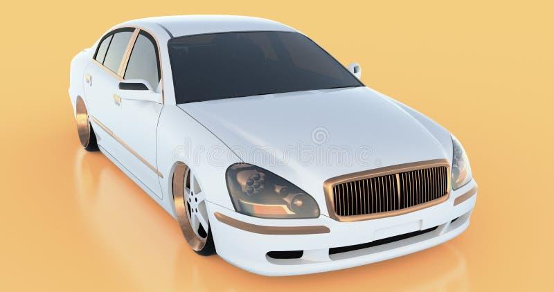 Lyxig vit sedanbil på en orange bakgrund med reflexioner framförande 3d vektor illustrationer