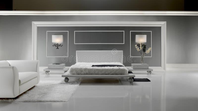 lyxig white för sovrum arkivbilder