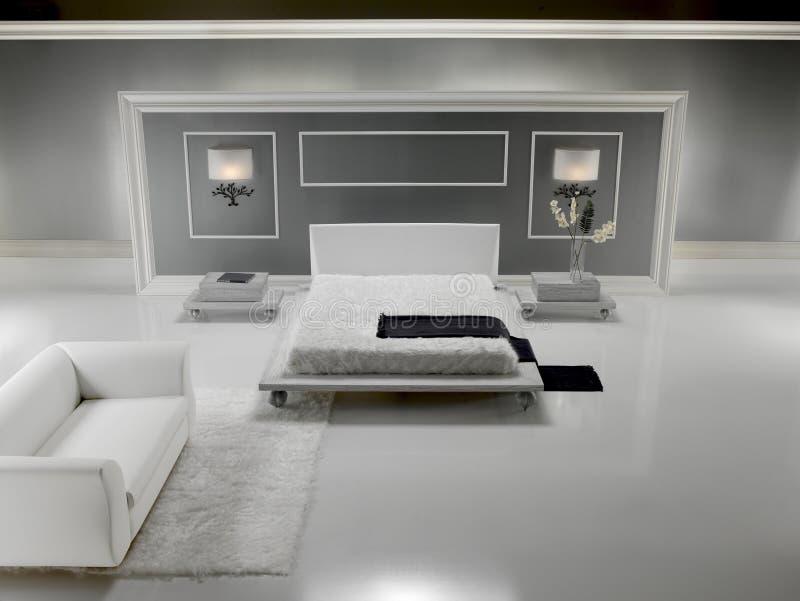 lyxig white för sovrum arkivfoton