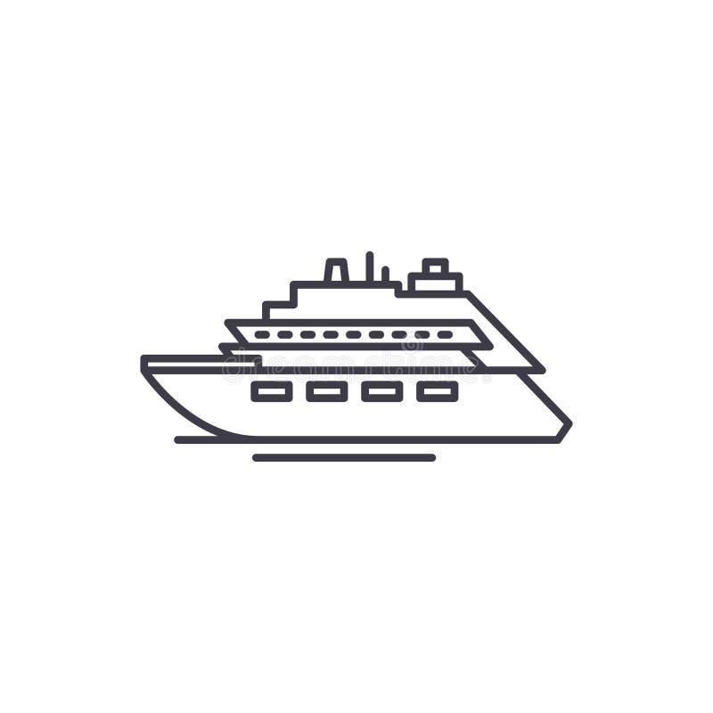 Lyxig yachtlinje symbolsbegrepp Linjär illustration för lyxig yachtvektor, symbol, tecken stock illustrationer