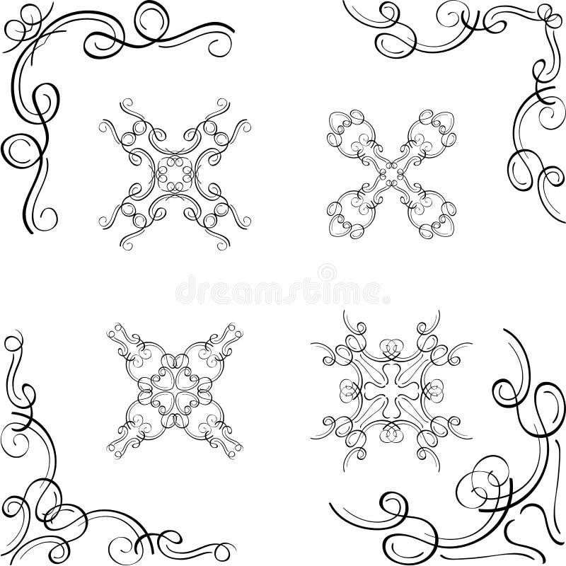 Lyxiga beståndsdelar för virveldesignhörn royaltyfri illustrationer