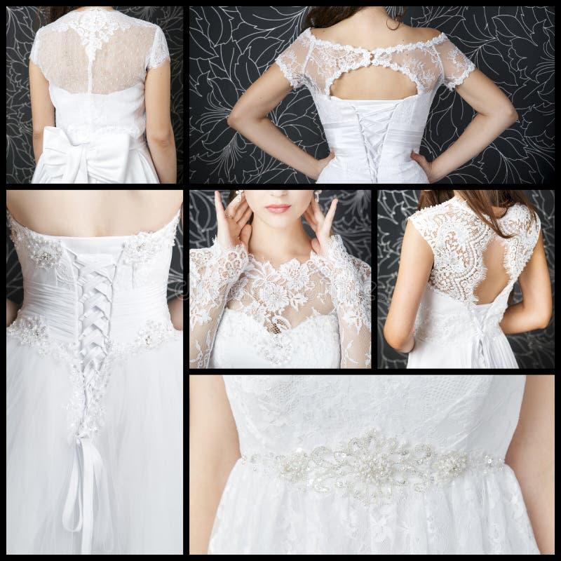 Lyxiga bröllopsklänningar med en korsett royaltyfri foto
