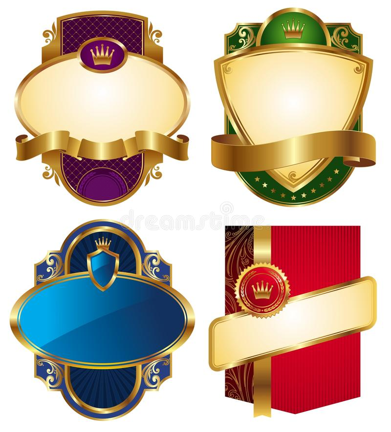lyxiga guld- etiketter för samling vektor illustrationer