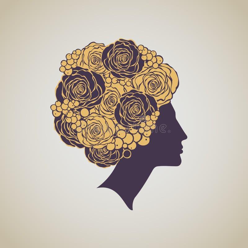 Lyxiga härliga kvinnas profil med blom- hairdress Skönhet s vektor illustrationer