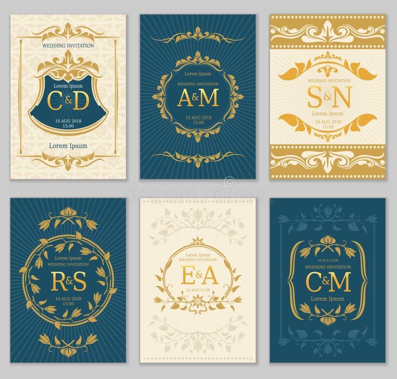 Lyxiga kort för vektor för tappningbröllopinbjudan med logomonogram och den utsmyckade ramen royaltyfri illustrationer