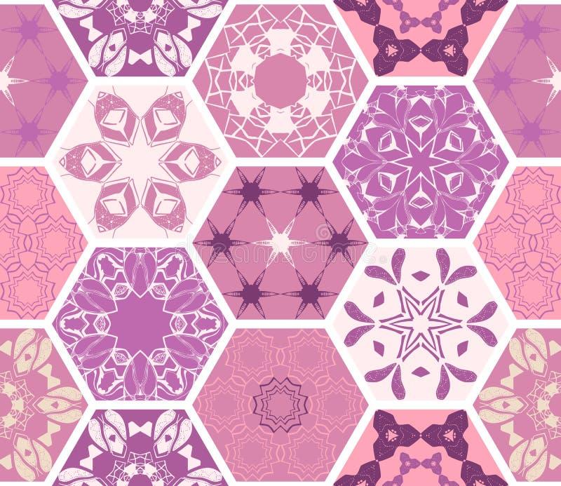 Lyxiga orientaliska sexhörniga keramiska tegelplattor Färgrik purpurfärgad sömlös modell stock illustrationer