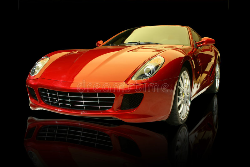 lyxiga röda sportar för bil royaltyfria foton