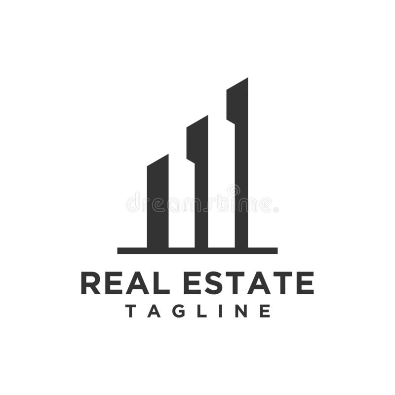 Lyxiga Real Estate Logo Design royaltyfri illustrationer