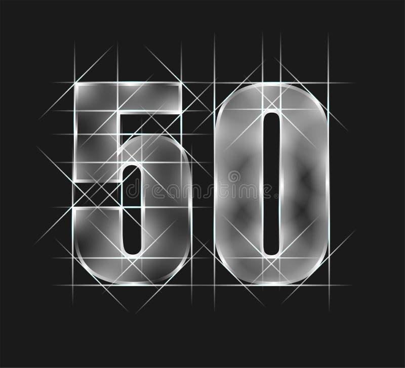 Lyxigt abstrakt tecken femtio för nummer 50 för exponeringsglas för gnistrandesmaragdkristall grå signalbakgrund Vektorillustrati vektor illustrationer