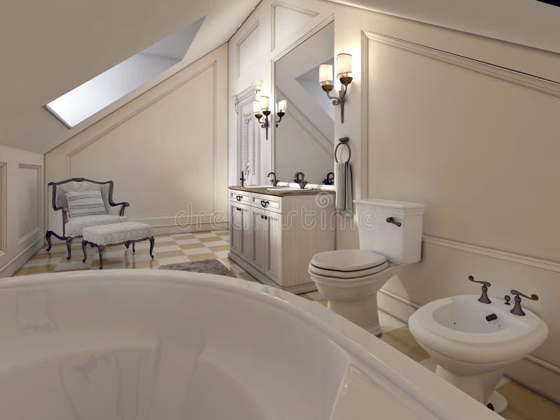 Lyxigt badrum på loftgolvet i stilen av Provence royaltyfri illustrationer