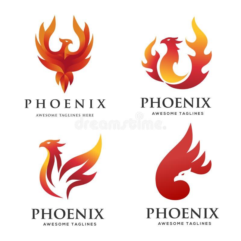 Lyxigt begrepp för phoenix logouppsättning stock illustrationer