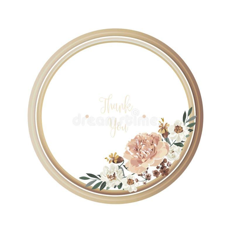 Lyxigt blom- hälsa kort med vita, bruna och gula blommor för apelsin, på vit bakgrund och träcirkelram royaltyfri illustrationer