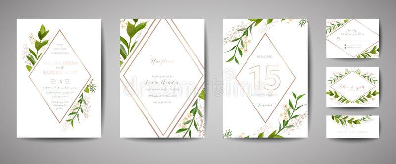 Lyxigt blommatappningbröllop sparar datumet, blom- kortsamling för inbjudan med ramen för guld- folie moderiktig räkning, grafisk royaltyfri illustrationer