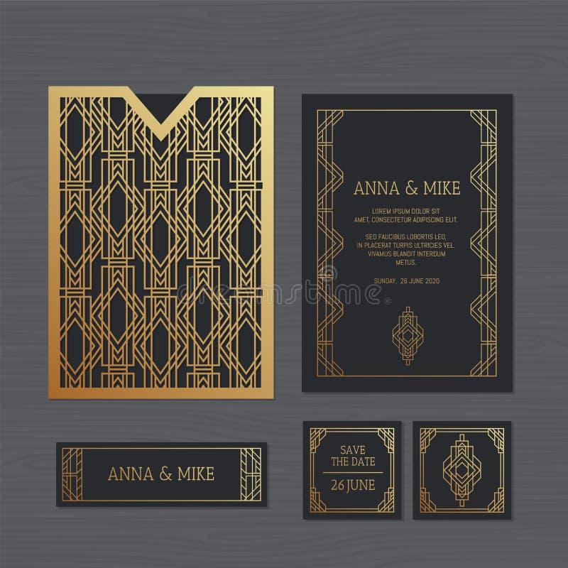 Lyxigt bröllopinbjudan- eller hälsningkort med geometrisk orname stock illustrationer