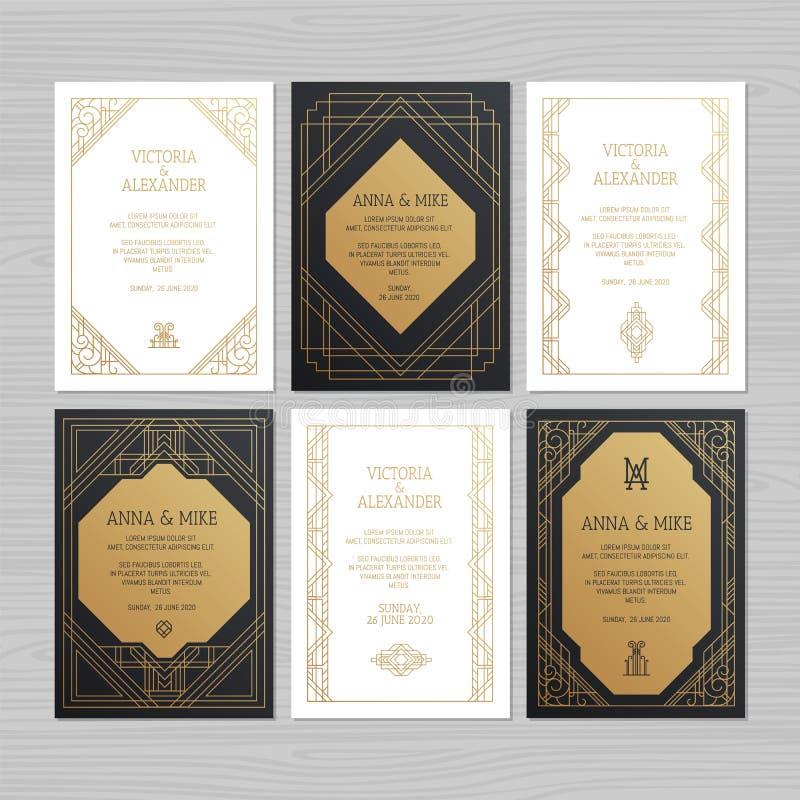 Lyxigt bröllopinbjudan- eller hälsningkort med geometrisk orname royaltyfri illustrationer