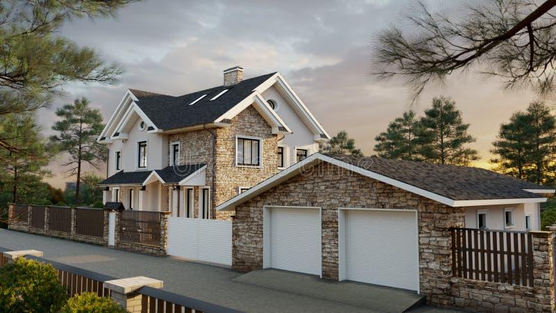Lyxigt familjhus med att landskap royaltyfri illustrationer