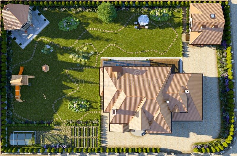 Lyxigt familjhus med att landskap vektor illustrationer