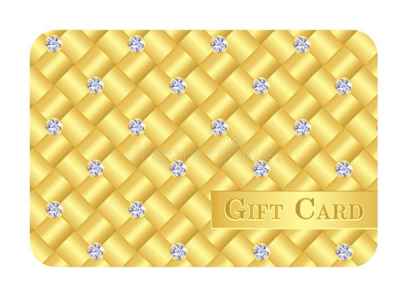 Lyxigt guld- gåvakort med små diamanter vektor illustrationer