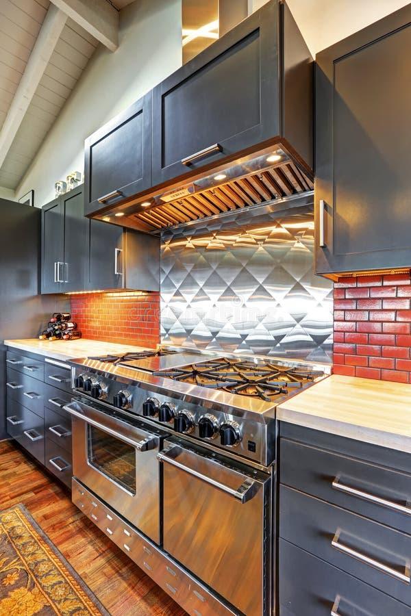 Lyxigt härligt mörkt modernt kök med det välvde wood taket royaltyfria bilder