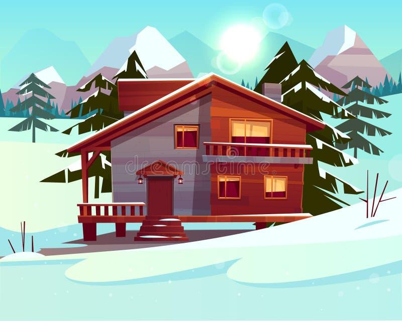Lyxigt hotell för vektortecknad film, chalet Sunbeds under ett tunt lager av snö royaltyfri illustrationer