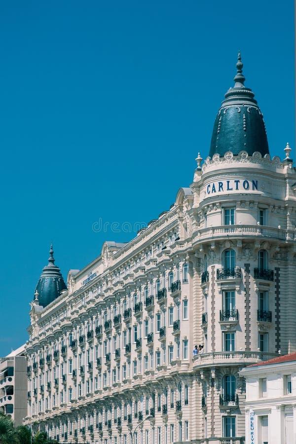 Lyxigt hotell InterContinental Carlton Cannes arkivfoton