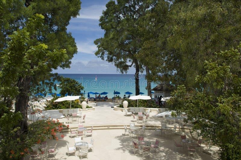Lyxigt hotell Sandy Lane, Barbados, karibiskt hav arkivfoto