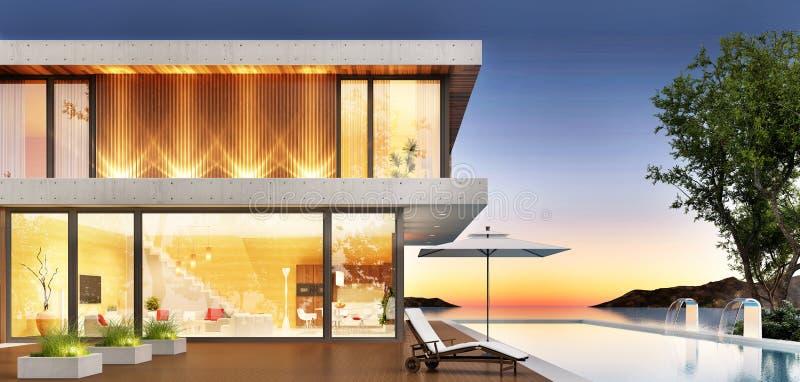 Lyxigt hus med pölen och terrass för att koppla av royaltyfri illustrationer