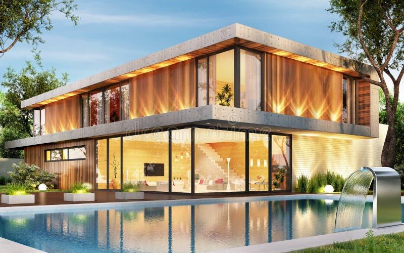 Lyxigt hus med simbassängen Interior och yttersida arkivfoto