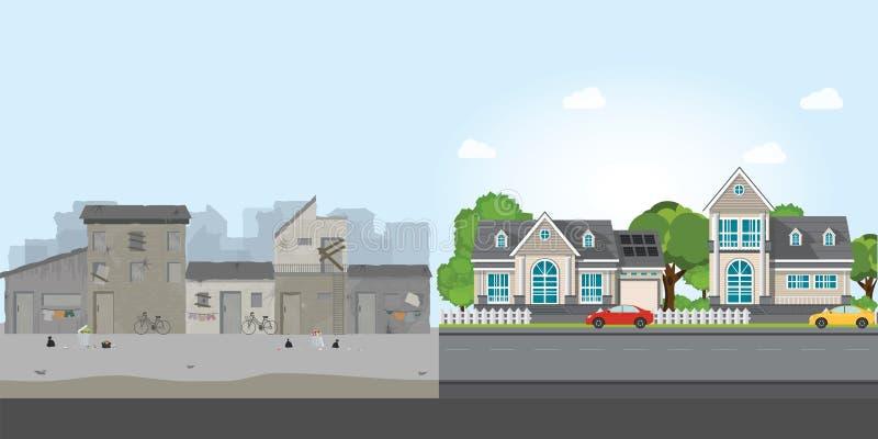 Lyxigt hus och slumkvarter, mellanrum mellan armod och rikedom stock illustrationer