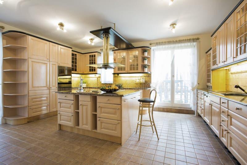 Lyxigt kök i traditionell design royaltyfri bild