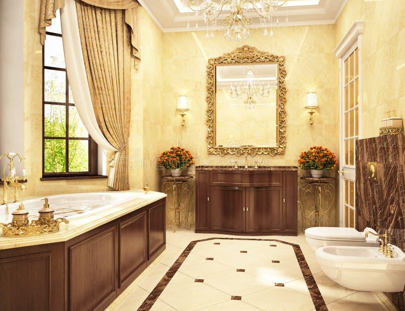 Lyxigt klassiskt badrum med badkaret och fönstret royaltyfri foto