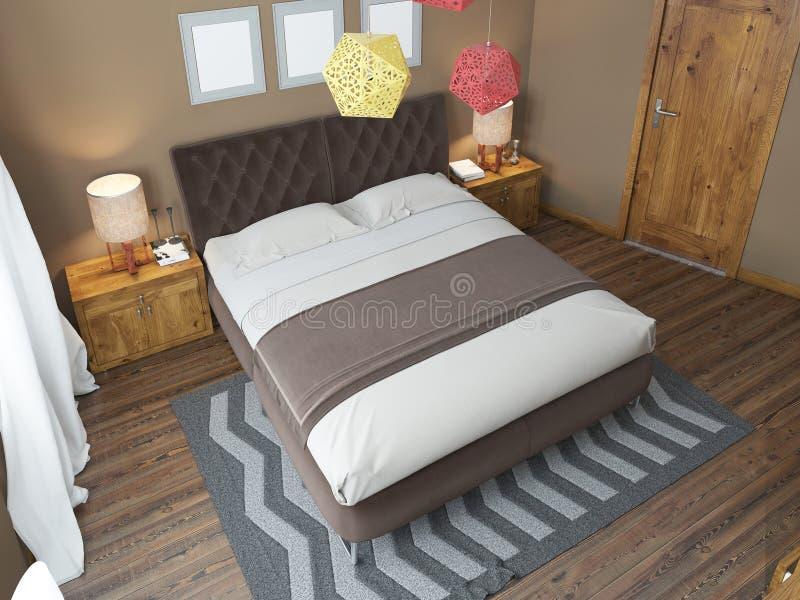 Lyxigt ljust sovrum i vinden stock illustrationer