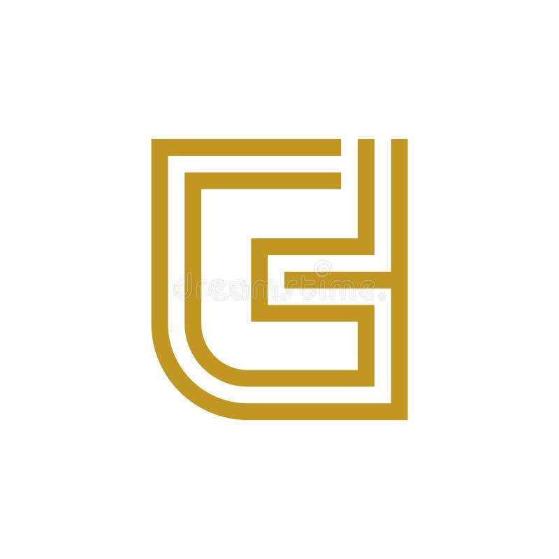 Lyxigt Logo That Incorporate Letter G och H i guld- färg stock illustrationer