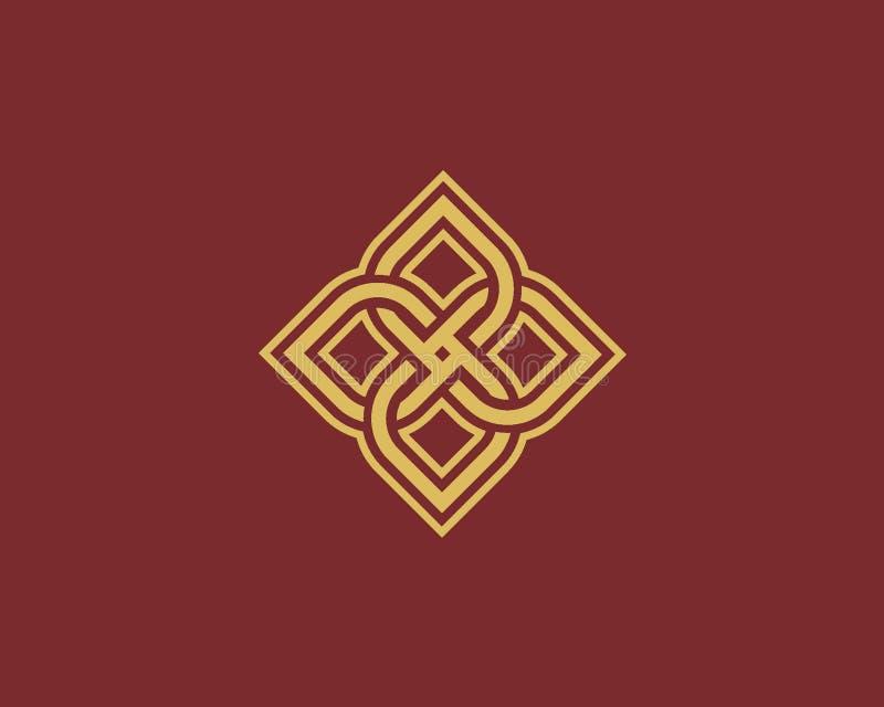 Lyxigt logodesignbegrepp, blommalotusblommalogo, skönhet eller brunnsortlogomall stock illustrationer