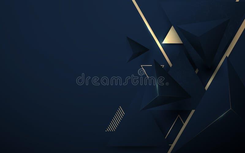 Lyxigt mörkt för abstrakt polygonal modell 3D - blått med guld- bakgrund royaltyfri illustrationer