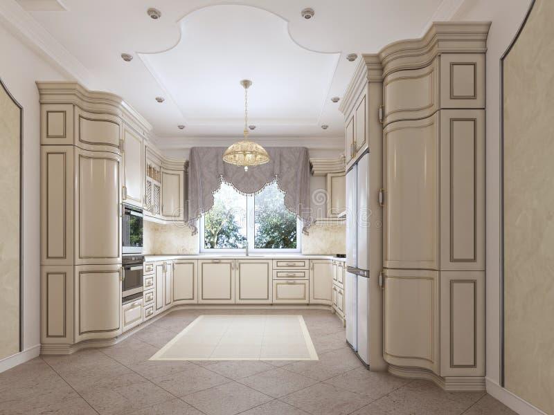 Lyxigt modernt kök i klassisk stil i vita färger med en äta middag tabell för fyra personer vektor illustrationer