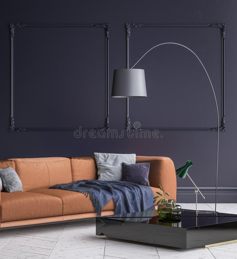 Lyxigt modernt mörker - blå vardagsruminre med det vita parkettgolvet, den bruna soffan, golvlampan och kaffetabellen stock illustrationer