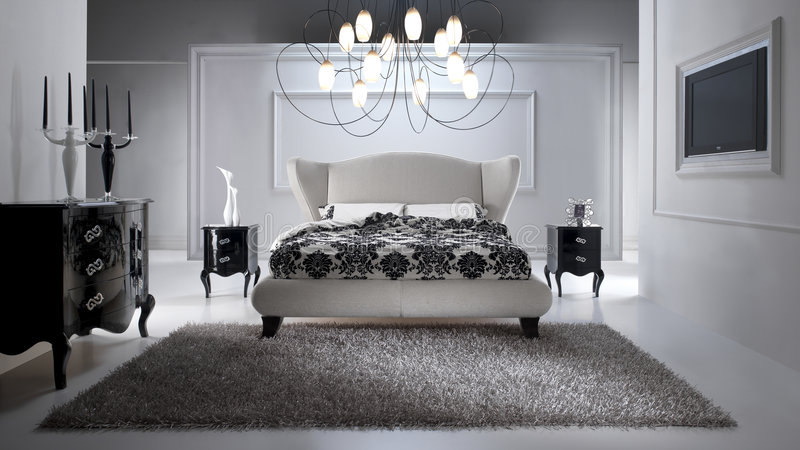 lyxigt sovrum royaltyfri fotografi