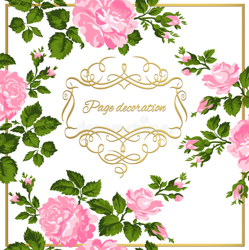 Lyxigt tappningkort av rosa rosor med guld- kalligrafi också vektor för coreldrawillustration vektor illustrationer