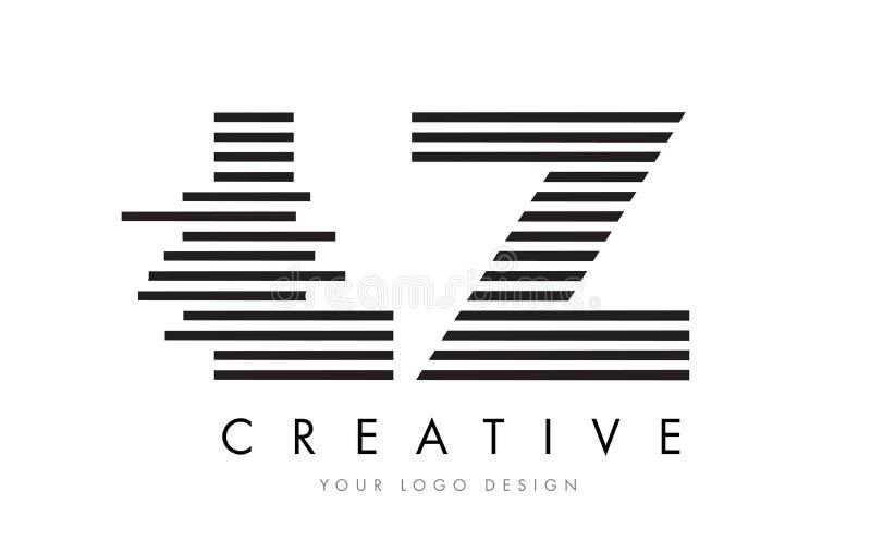 LZ de Gestreepte Brief Logo Design van L Z met Zwart-witte Strepen stock illustratie