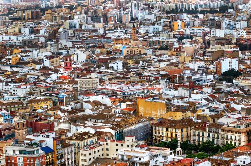 Màlaga-Panoramablick - Costa del Sol, Andalusien, Spanien stockfotografie