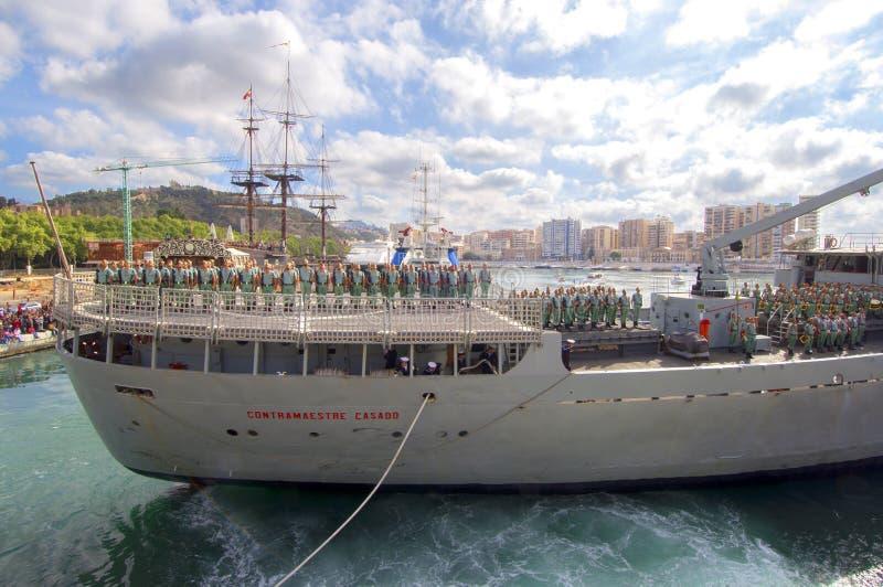 MÀLAGA, SPANIEN - 9. APRIL: Spanisch Legionarios-Marsch auf einem militar lizenzfreie stockfotografie