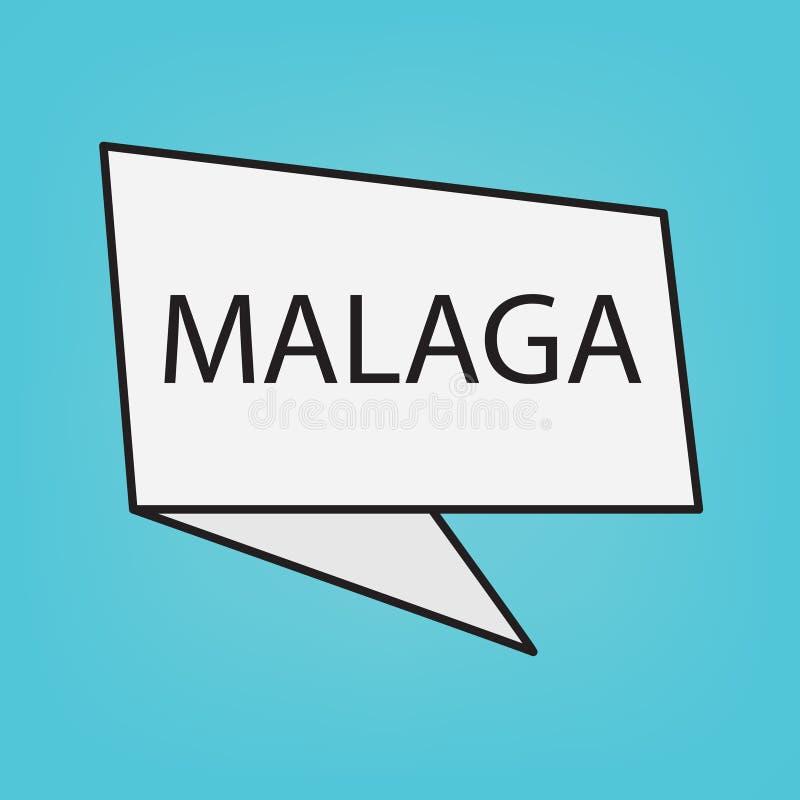 Màlaga-Wort auf einem Aufkleber stock abbildung