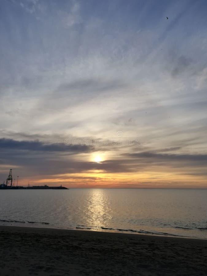Màlagas früher Sonnenaufgang, Spanien lizenzfreies stockfoto