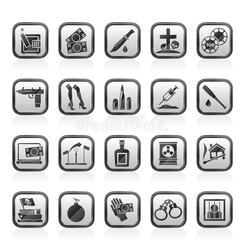 Máfia, gângster e ícones organizados da atividade da criminalidade ilustração royalty free