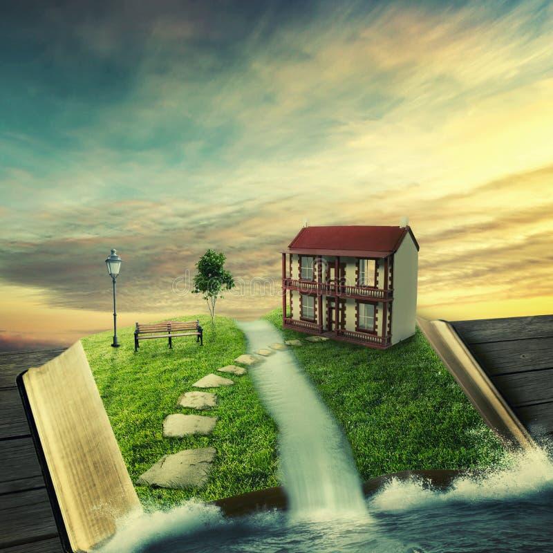 A mágica abriu o livro com a casa familiar, coberta com a grama ilustração do vetor