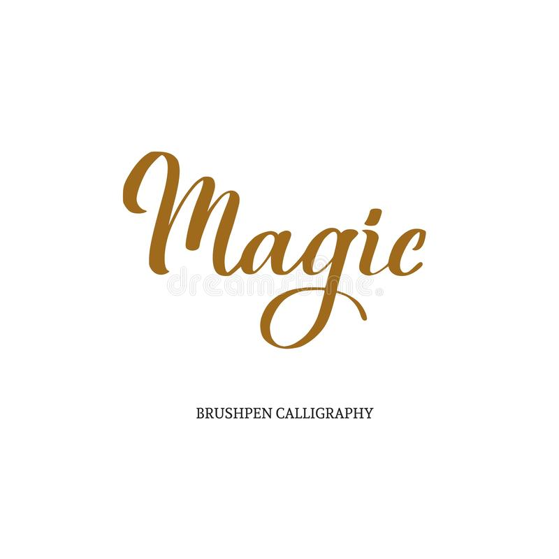 mágica Caligrafia moderna do vetor de Brushpen lettering vintage ilustração stock
