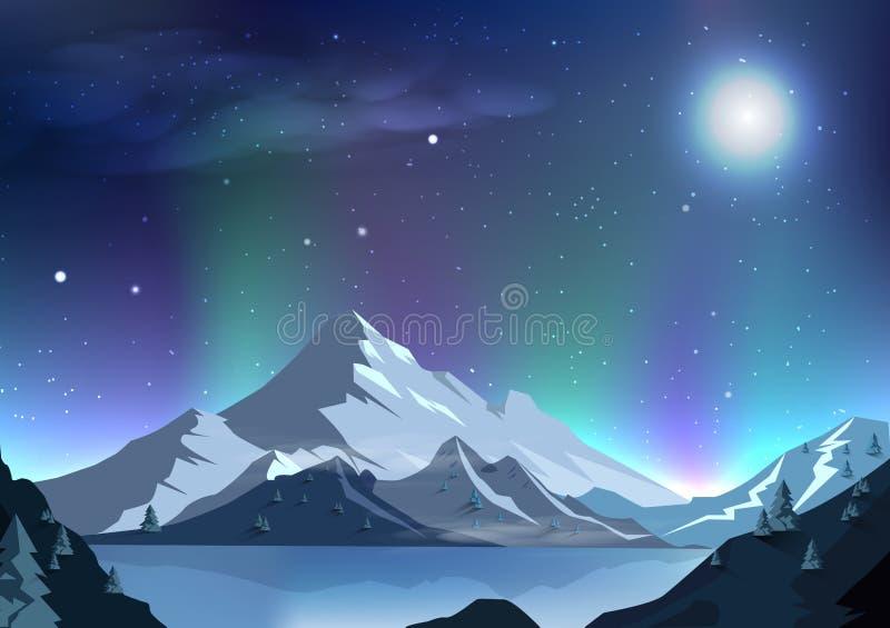 Mágica da cena da noite da Aurora do fundo do sumário da Lua cheia da fantasia ilustração royalty free